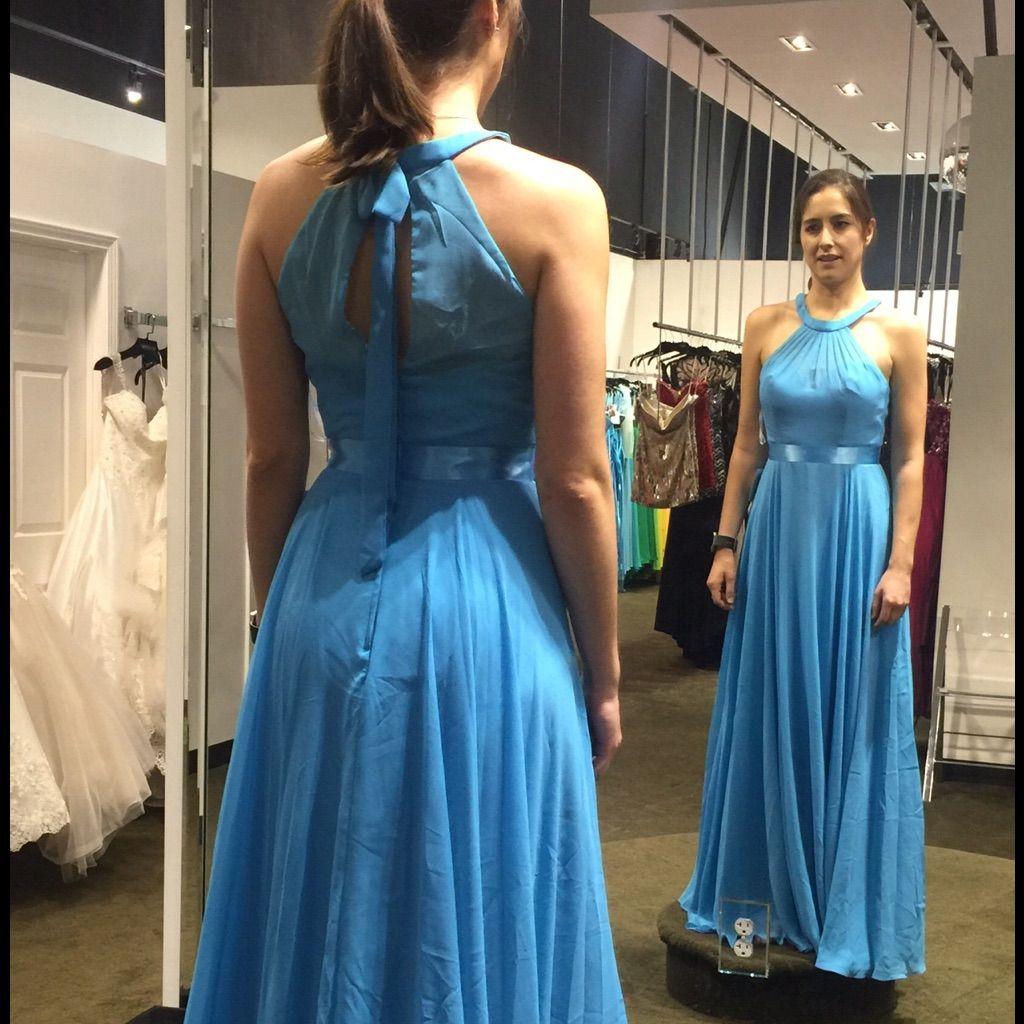 Turquoise bridesmaid dress floor length halter turquoise