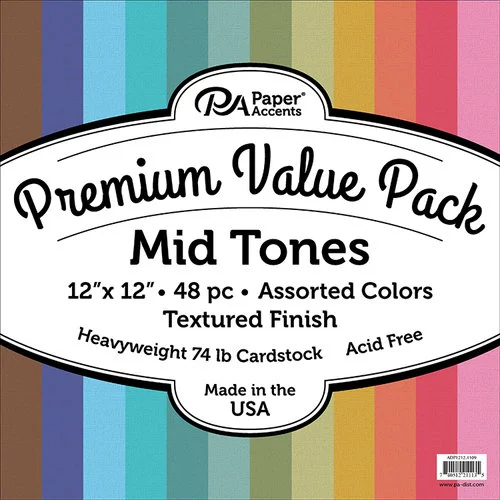 Jewel Tones American Crafts Smooth Cardstock Pack 12 by 12-Inch 48-Pack
