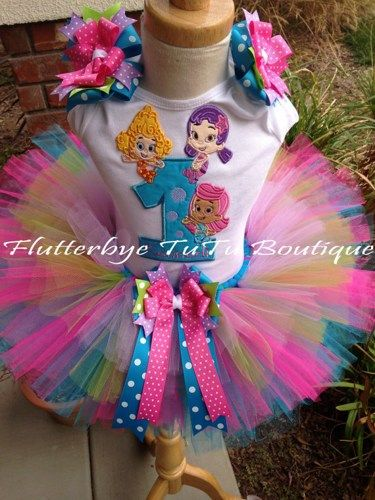 The perfect outfit for your little one's special Bubble Birthday Bash!!! Bow details on sleeves come attached to alligator clips, for use in the hair on other occasions. Or if you prefer, I can leav