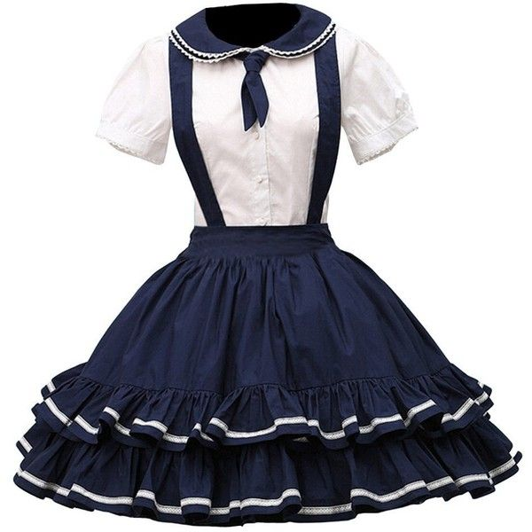 Partiss Women's Pure Cotton Straps Neck Lolita Skirt (420 SEK) ❤ liked on Polyvore featuring skirts and blue skirt