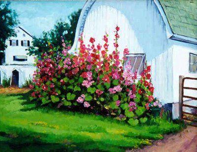 Dzvinkas Paintings: Hollyhocks by the Barn, oil on canvas, 11 x 14