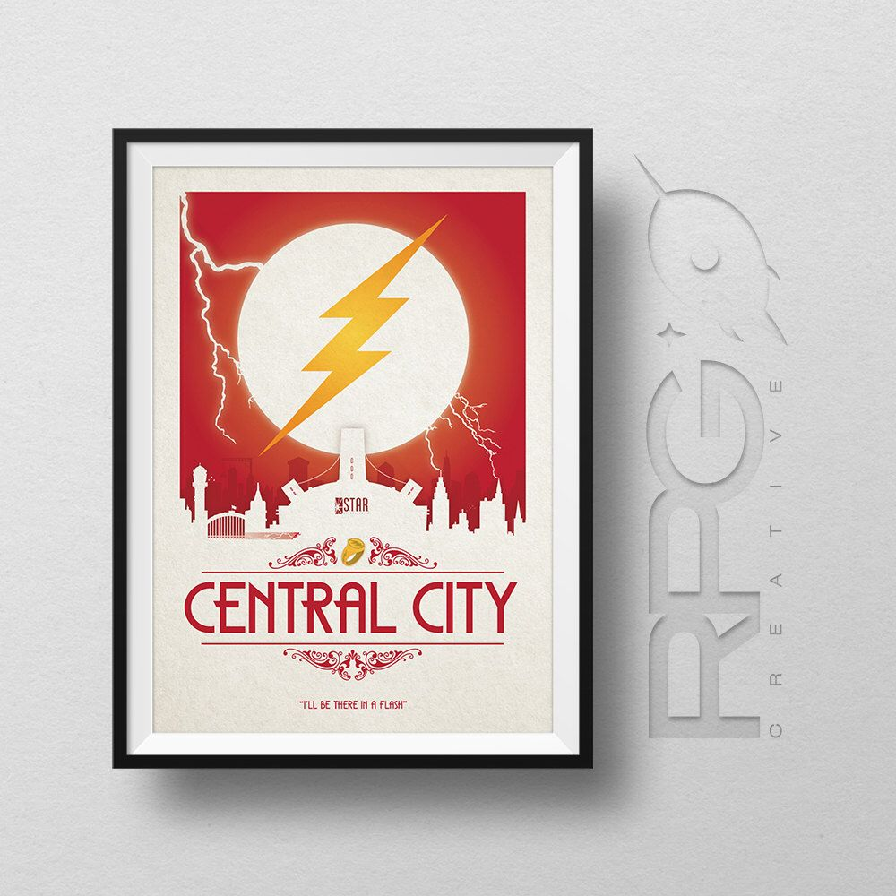 The Flash Origin Print : Central City - DC Comics by RPGCreative on Etsy https://www.etsy.com/uk/listing/232208095/the-flash-origin-print-central-city-dc
