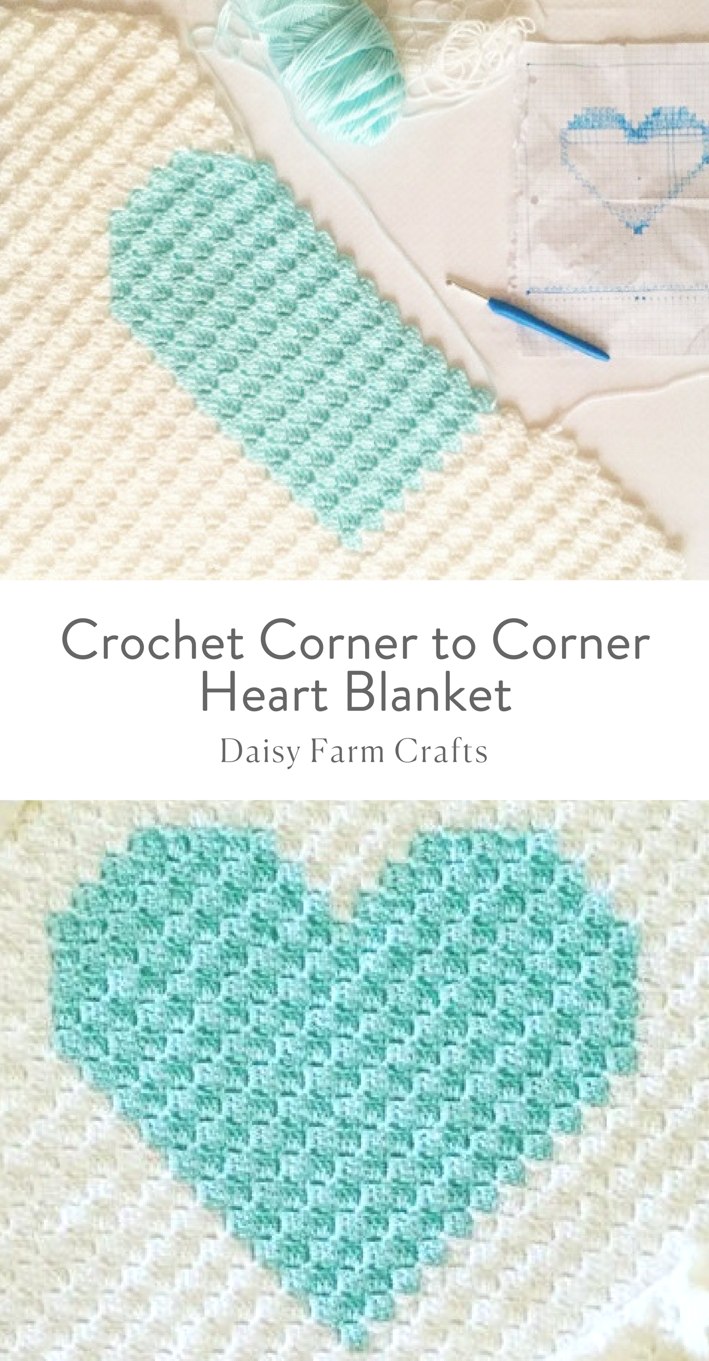 Free Pattern - Crochet Corner to Corner Heart Blanket | Crochet ...
