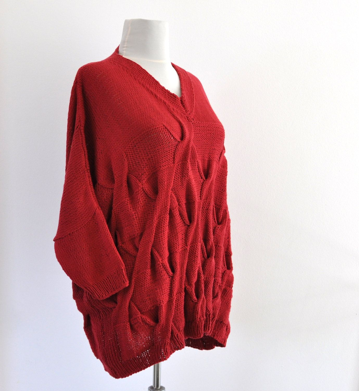 Red Summer Sweater, Oversized Sweater, Cable Knit Sweater, Women's ...