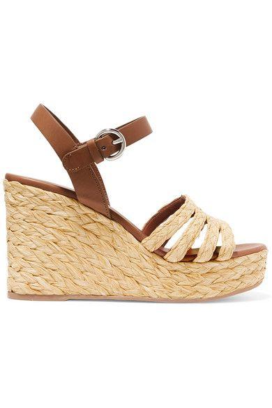 c37c77985b0a Prada - Leather And Woven Raffia Espadrille Wedge Sandals