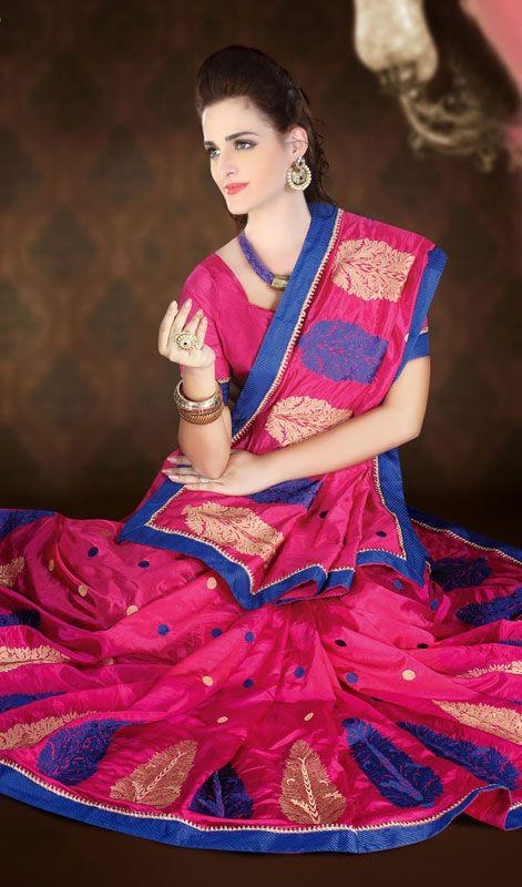 Stunning Pink Raw Silk Embroidered Saree Price: Usa Dollar $104, British UK Pound £61, Euro77, Canada CA$113 , Indian Rs5616.
