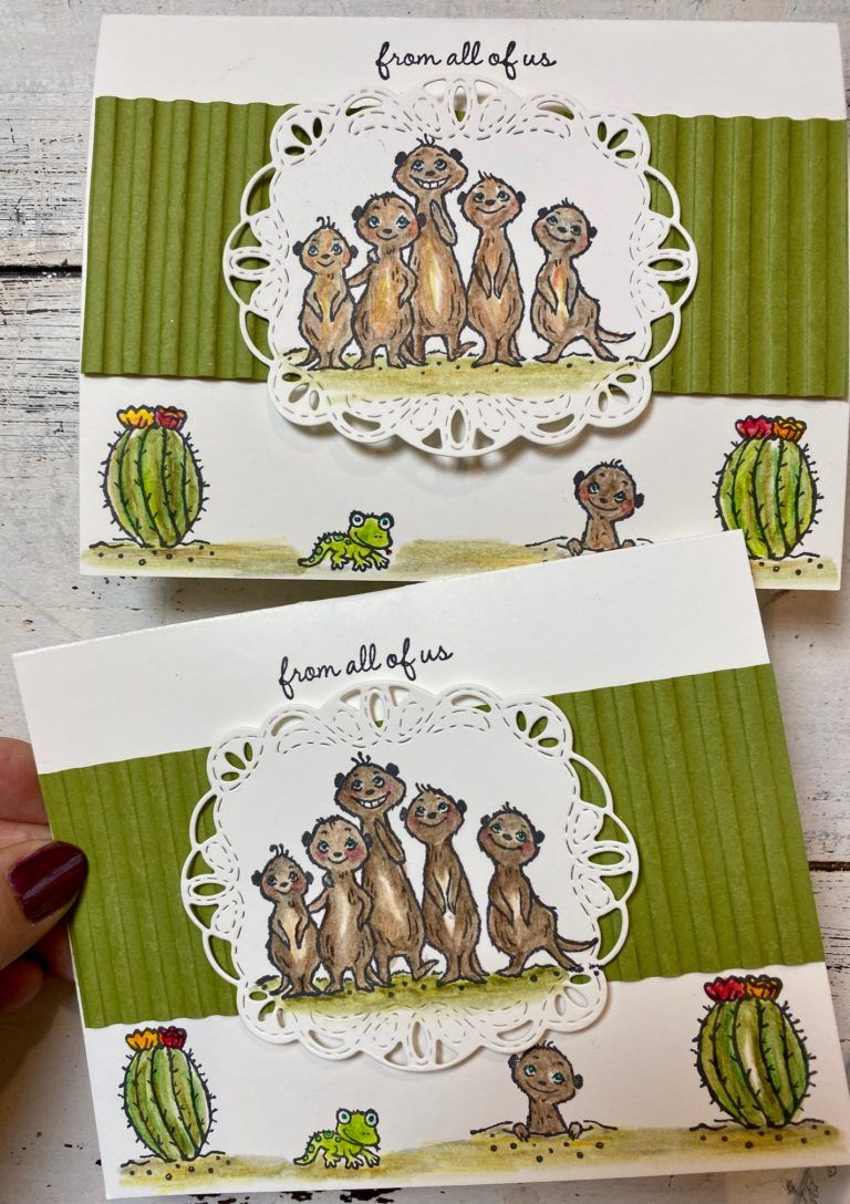 Super Easy Pop Up Card With Watercolor Pencil Tutorial Featuring Sale A Bration Meerkats Stamped Cards Hand Stamped Cards Stamping Up Cards