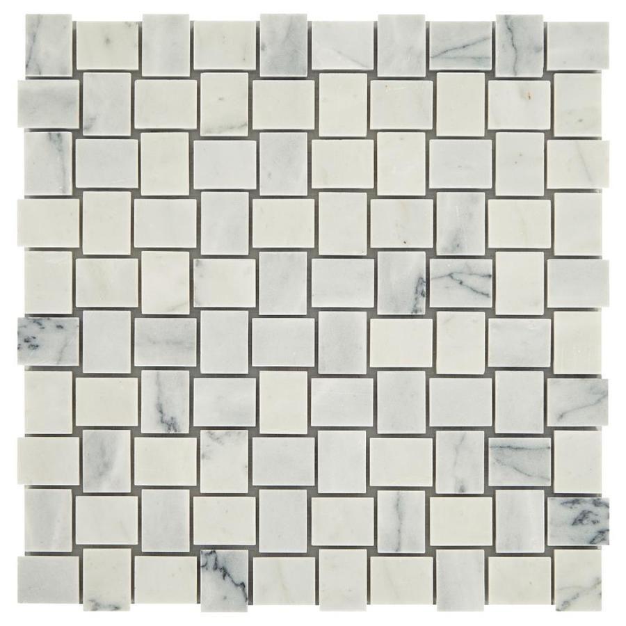 American Olean Genuine Stone Refined White 11 In X 11 In Honed Natural Stone Marble Basketweave Tile Lowes Com Marble Mosaic Floor Olean Basket Weave Tile