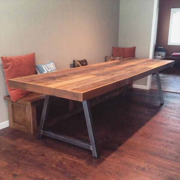 DIY Wood Pallet Conference Table Part 43