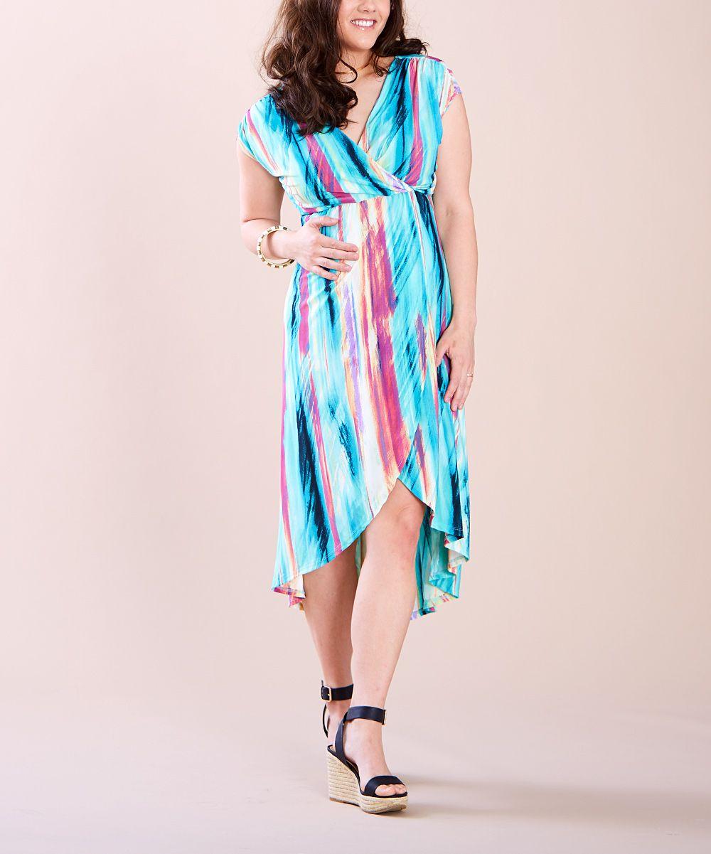 Aqua u red stripe maternitynursing empirewaist dress plus too