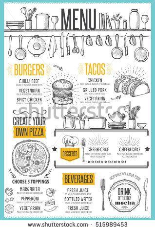 Cafe menu food placemat brochure, restaurant template design - a la carte menu template