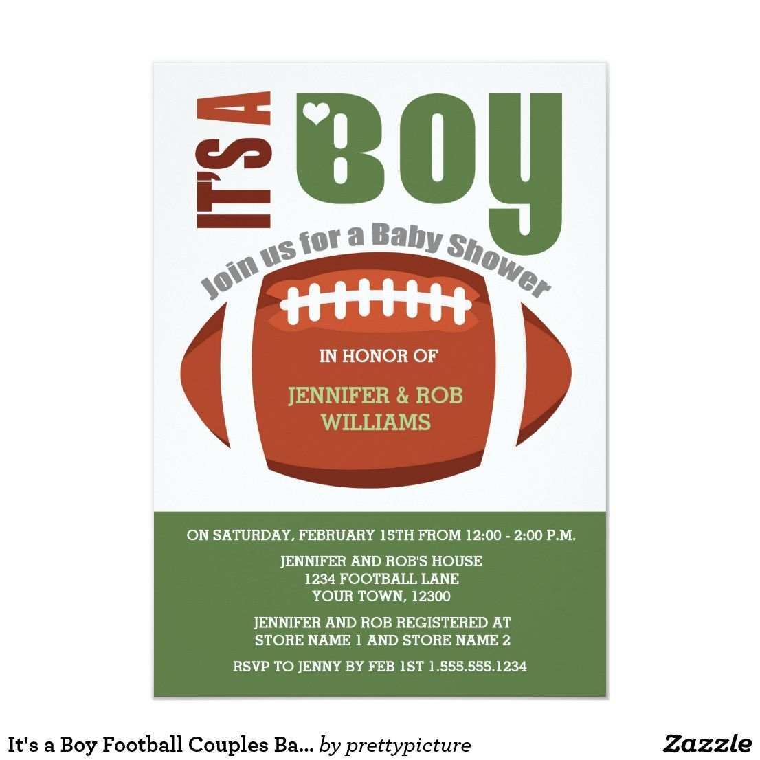 It's a Boy Football Couples Baby Shower Invitation | Zazzle.com