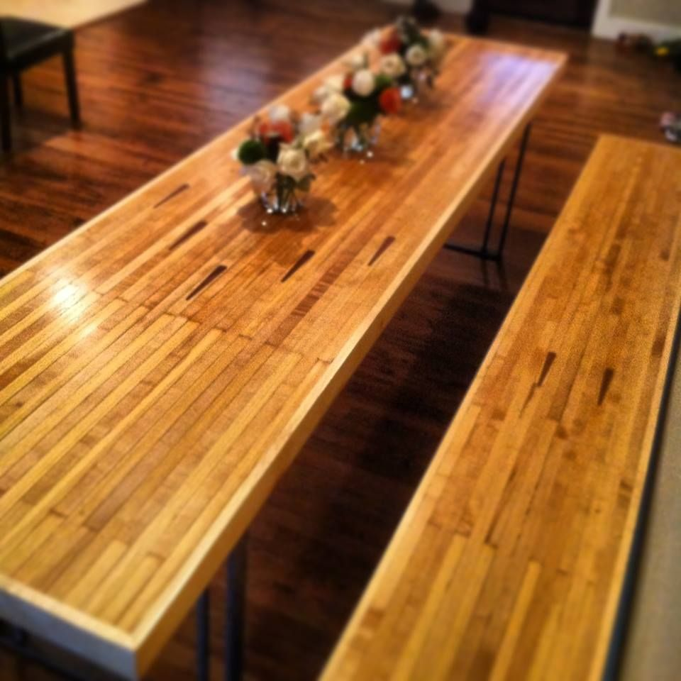 Custom Vintage Bowling Alley Dining Table And Bench Bowling