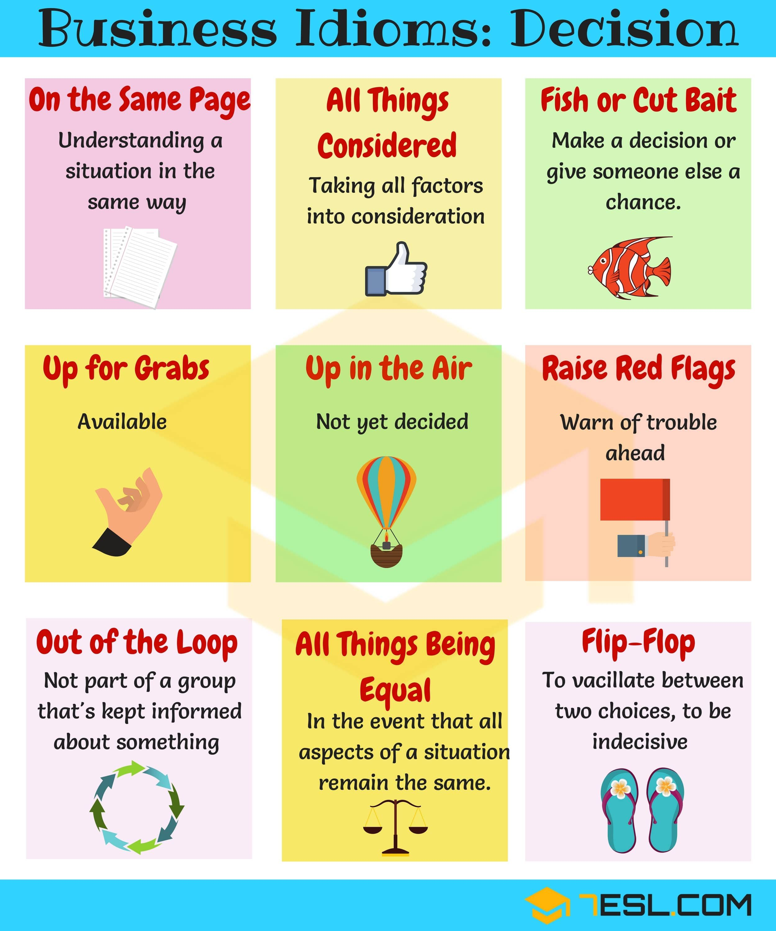 15 Useful Expressions Idioms For Making Decisions 7esl English Idioms Learn English Idioms And Phrases