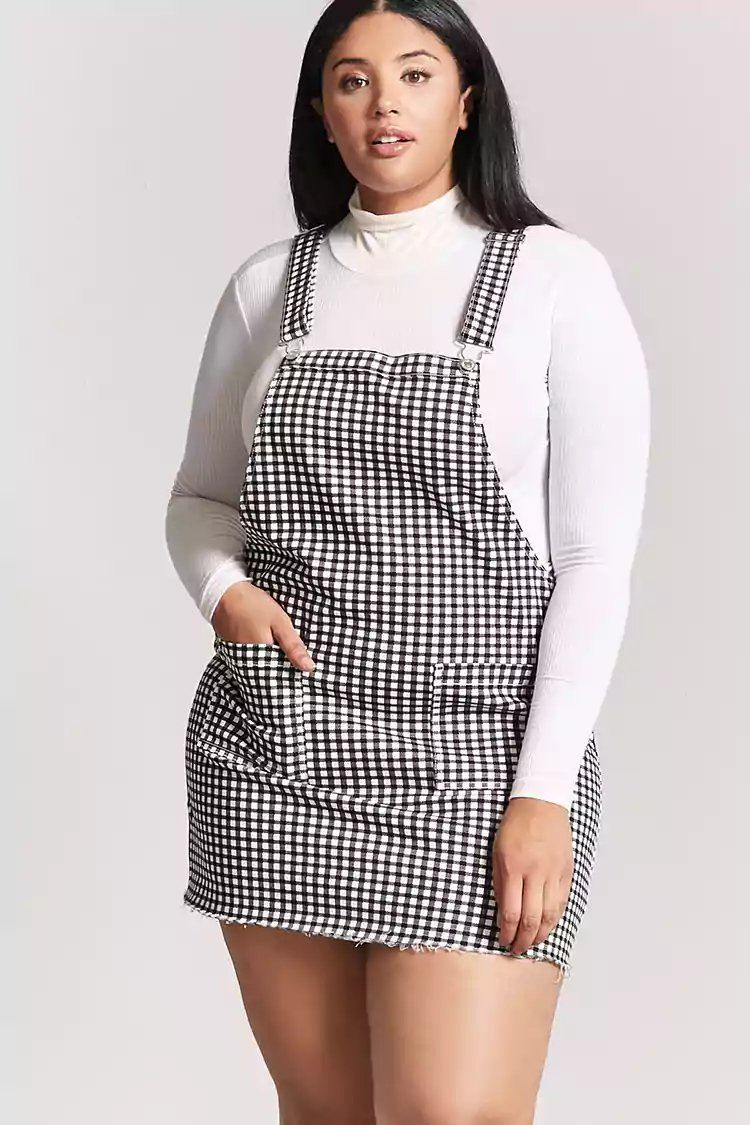 Product Name:Plus Size Gingham Overall Dress, Category:plus_size ...