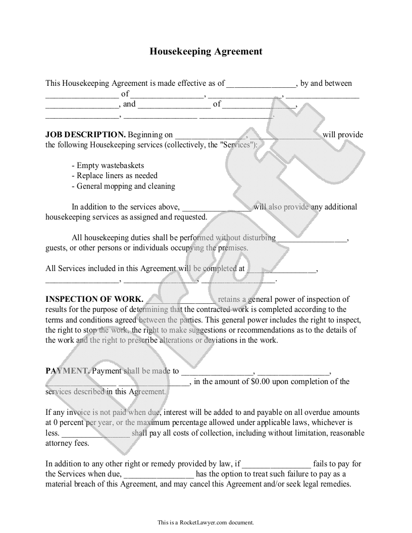 Housekeeping Contract Agreement Template With Sample  Home De