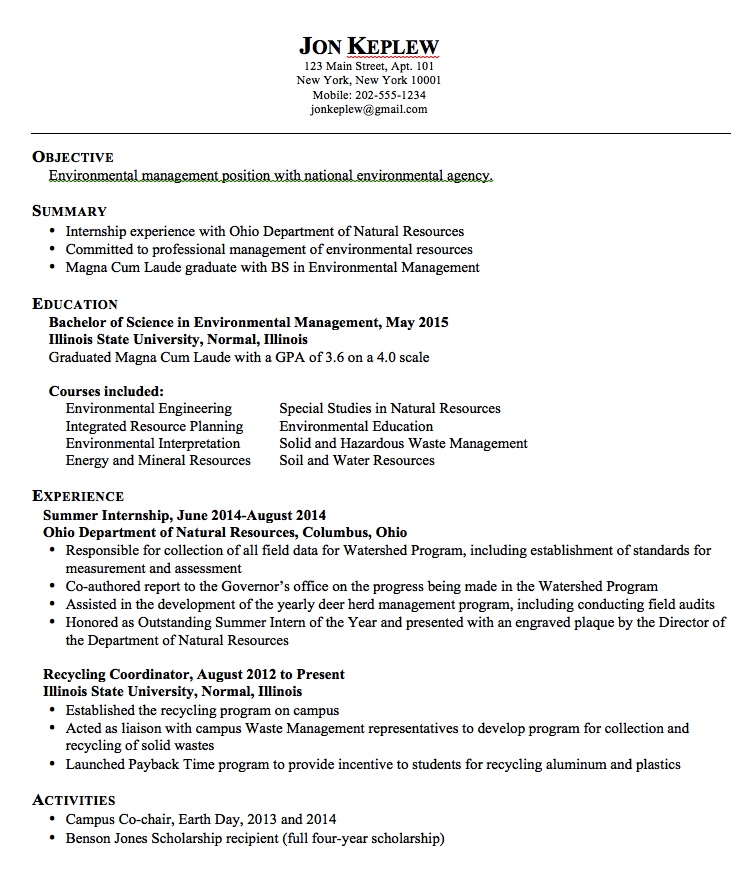 Sample Resume Environmental Management  HttpExampleresumecv