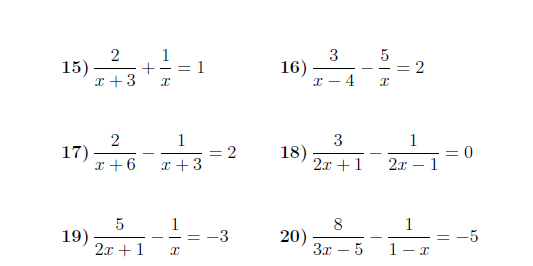Equations with algebraic fractions worksheet with solutions A