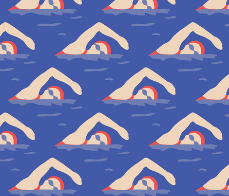 Swimming Laps fabric by eloise_hose on Spoonflower - custom fabric