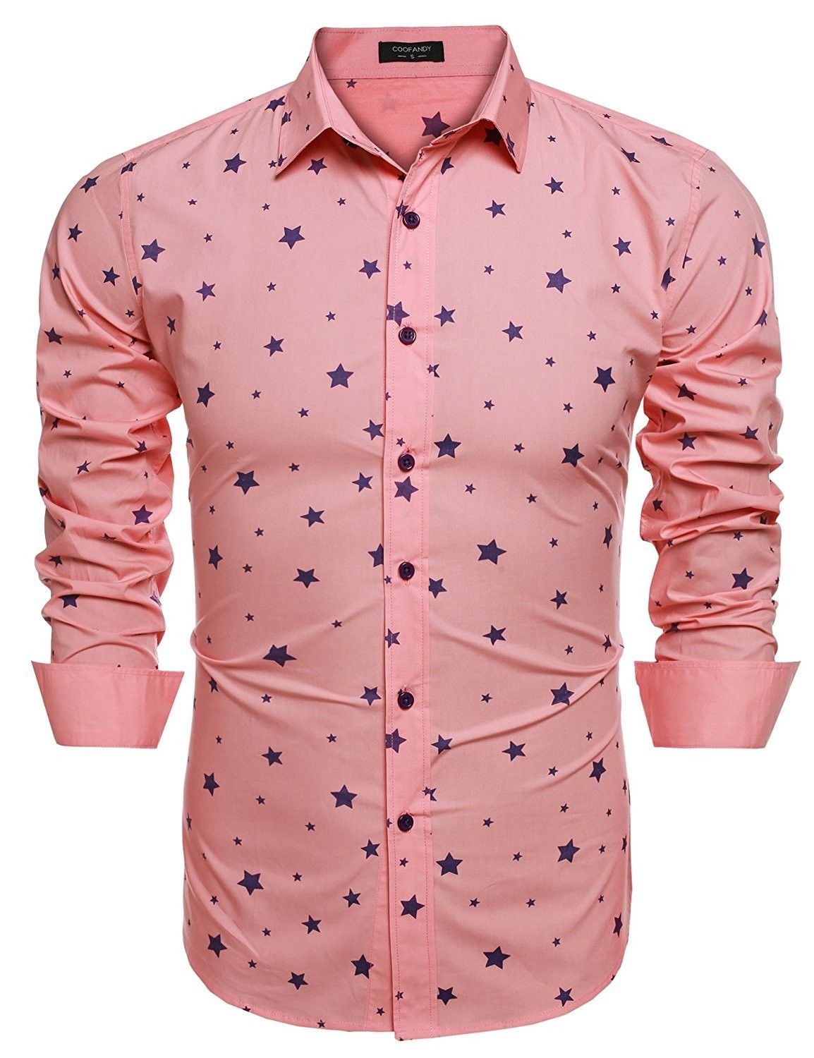76cb8144 Mens Fashion Slim Fit Turn Down Collar Long Sleeve Star Print Casual Shirts  - Pink - C212GOK8DSR,Men's Clothing, Shirts, Casual Button-Down Shirts #men  ...