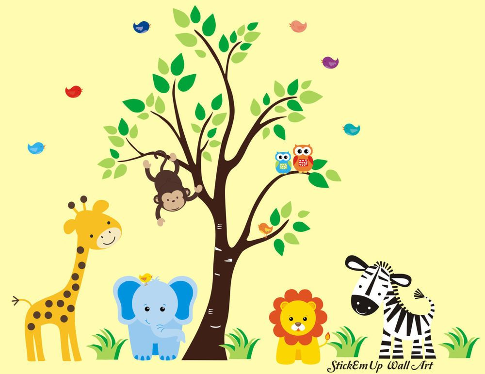 Zoo Animal Wall Decals - Large Animal Wall Stickers - Cute Baby Room ...