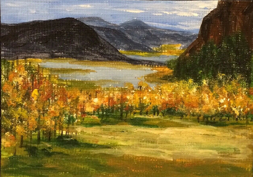 ACEO Original Acrylic Painting Landscape Mountains Meadow Fall Trees Lakes by M....#aceo #acrylic #fall #lakes #landscape #meadow #mountains #original #painting #trees