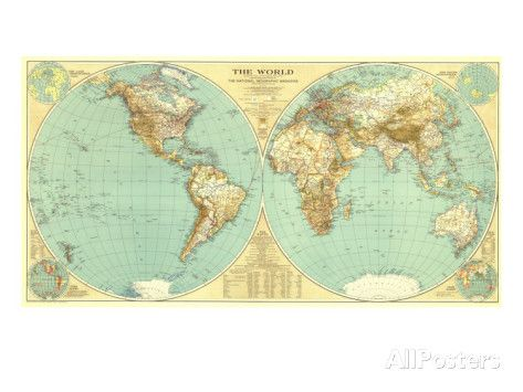 1935 World Map Maps Map World Map Poster Map Art
