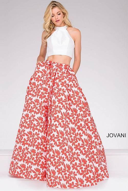 White Multi Two Piece Halter Neck Floral Skirt Prom Ballgown Jovani ...