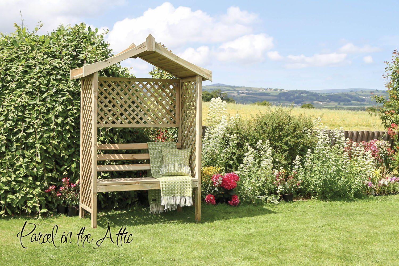 Barcelona Garden Arbour Seat With Trellis U0026 Bench Storage Wood Arch Bench  Corner Storage Patio Furniture