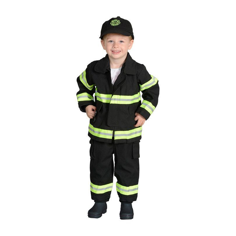 Jr. Firefighter Suit with Embroidered Cap, Black - Play Kids Pretend Play, Play Tents & Vanities - Maisonette