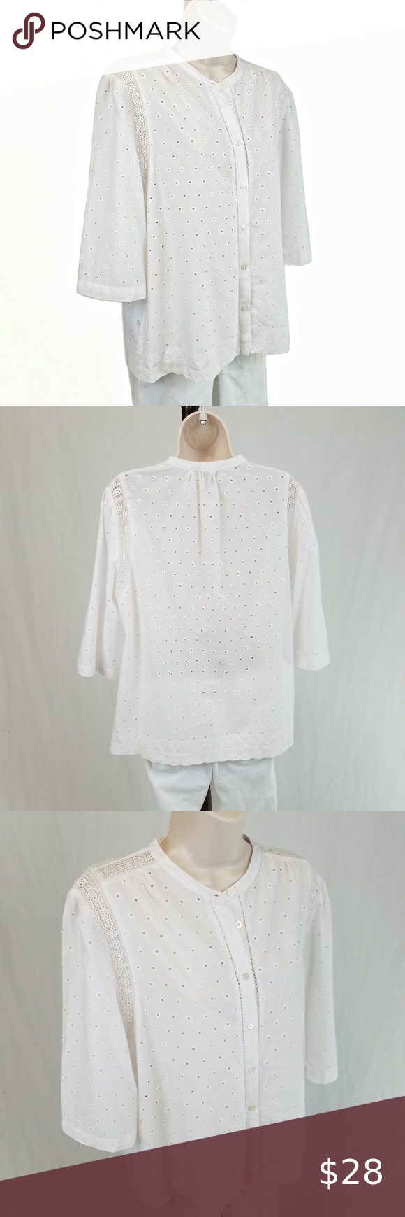 J. Crew Eyelet button-up shirt / top white 14 Half sleeve crew neck button…