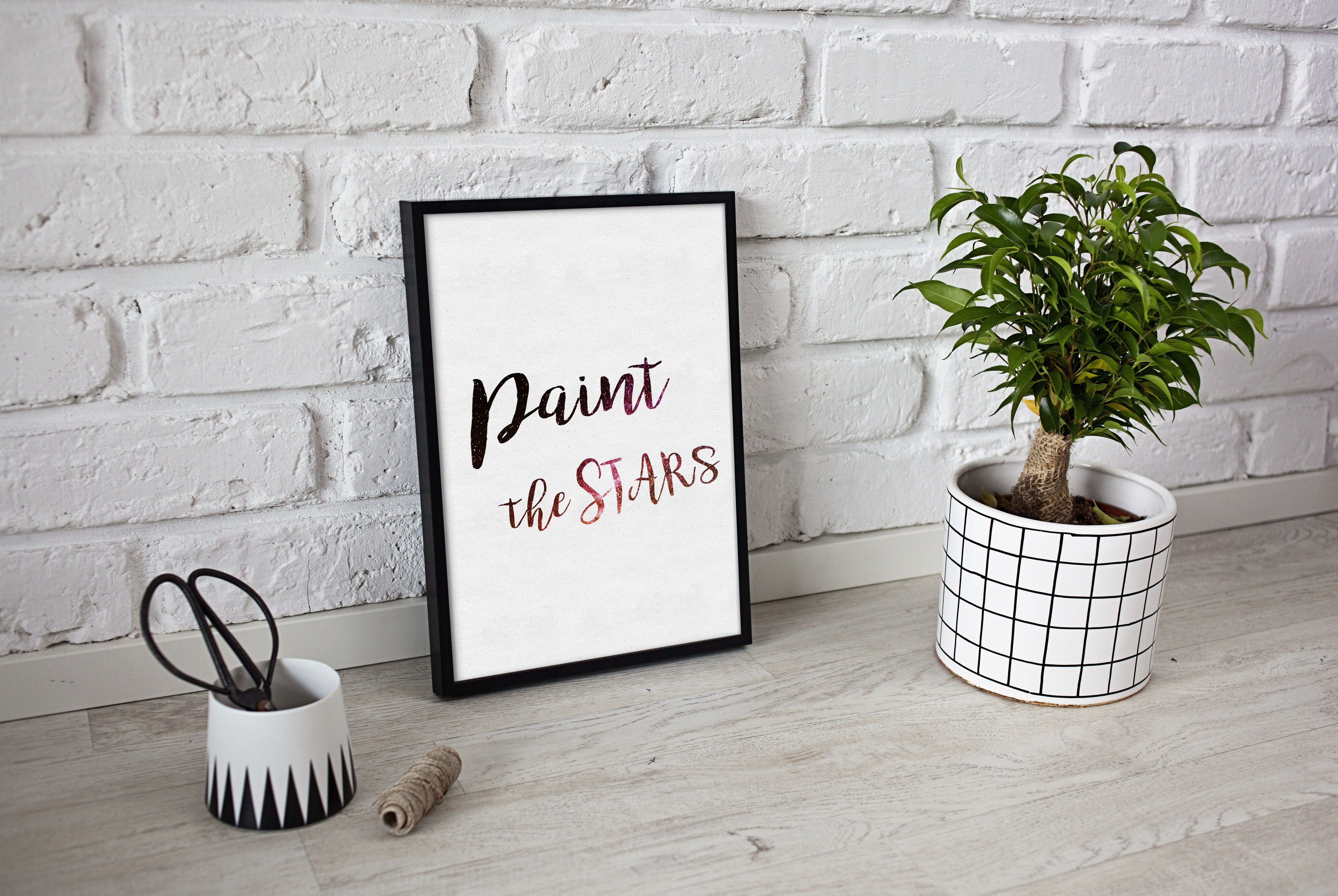 Paint the stars inspirational bedroom dorm room wall décor