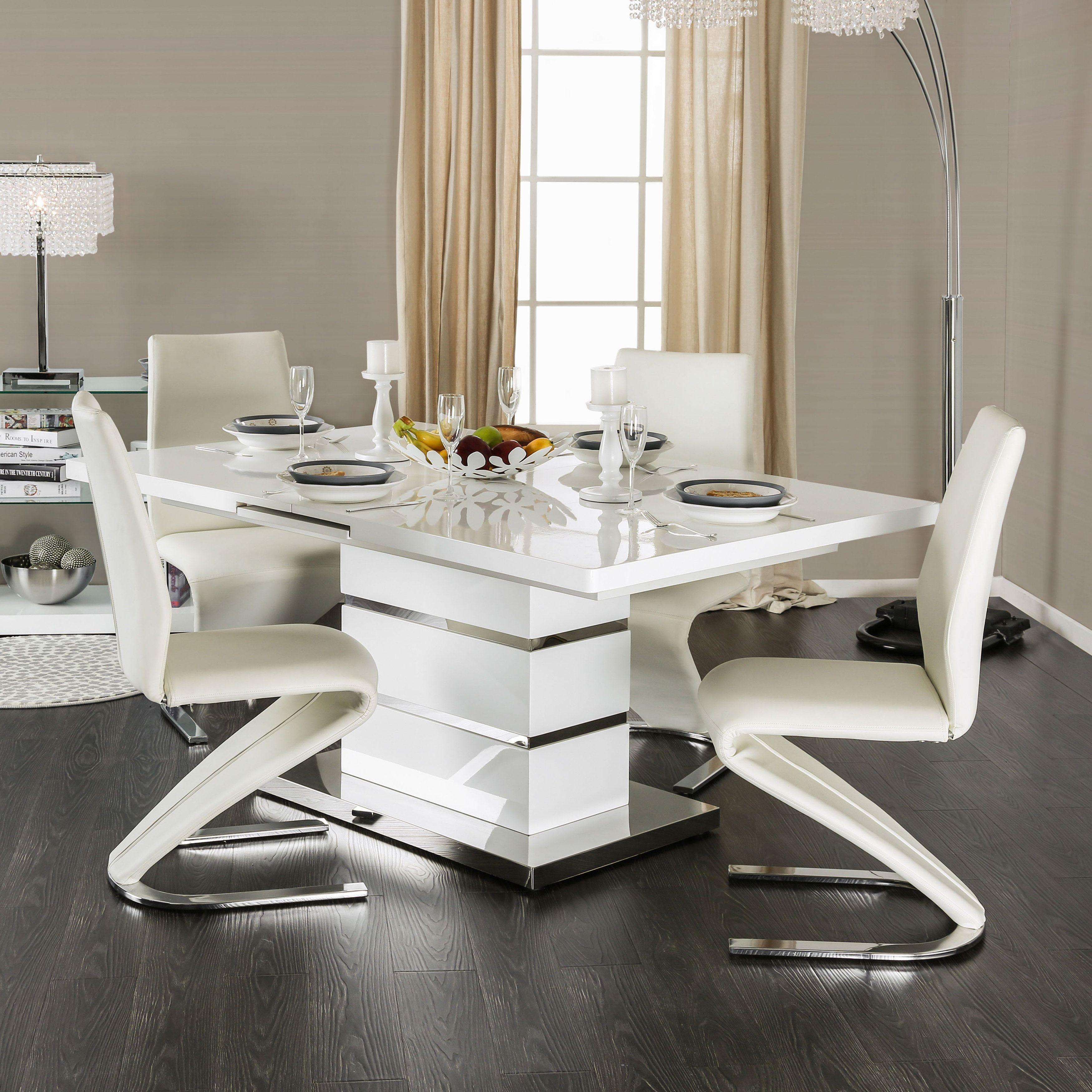 Furniture Of America Novas Contemporary 5 Piece Glossy White