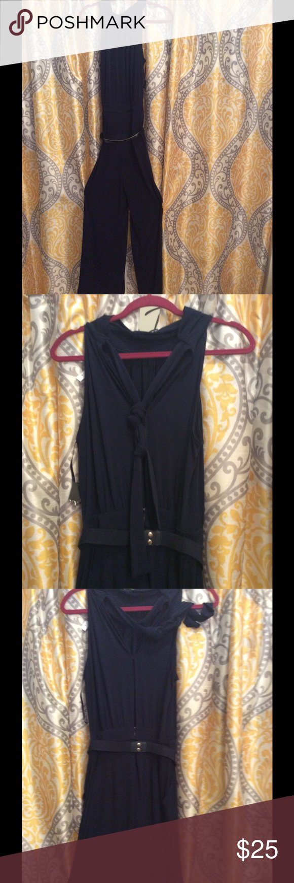 Tie around the neck jumper with belt v on back Navy jumper New York & Company Pants Jumpsuits & Rompers
