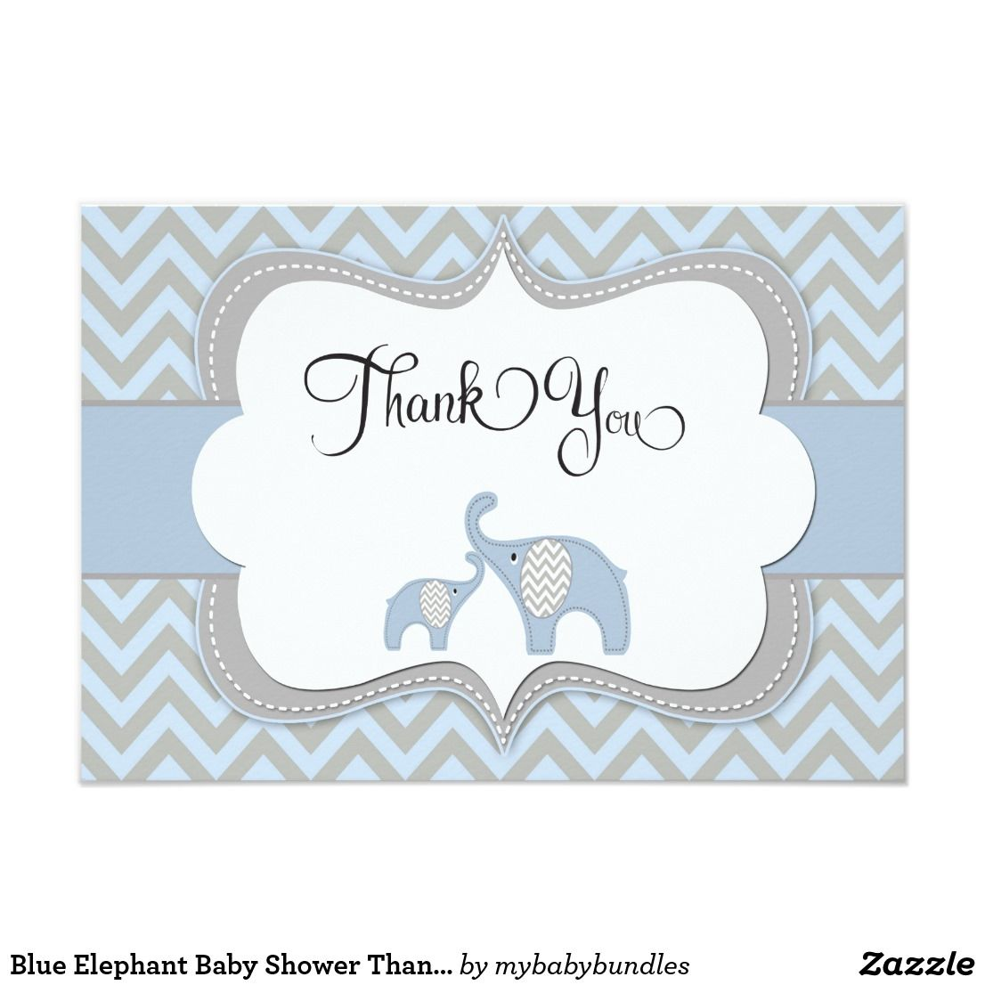 Blue Elephant Baby Shower Thank You Card Zazzle Com Baby Shower Thank You Cards Pink Elephants Baby Shower Elephant Baby Shower Invitations