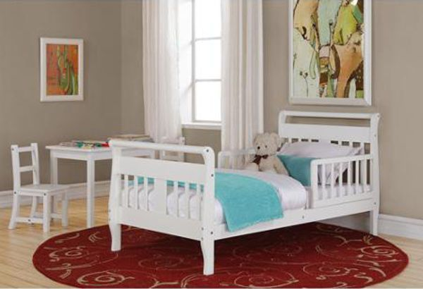 White Toddler Bed Frame Kids Sleigh Style Child Childrens Bedroom