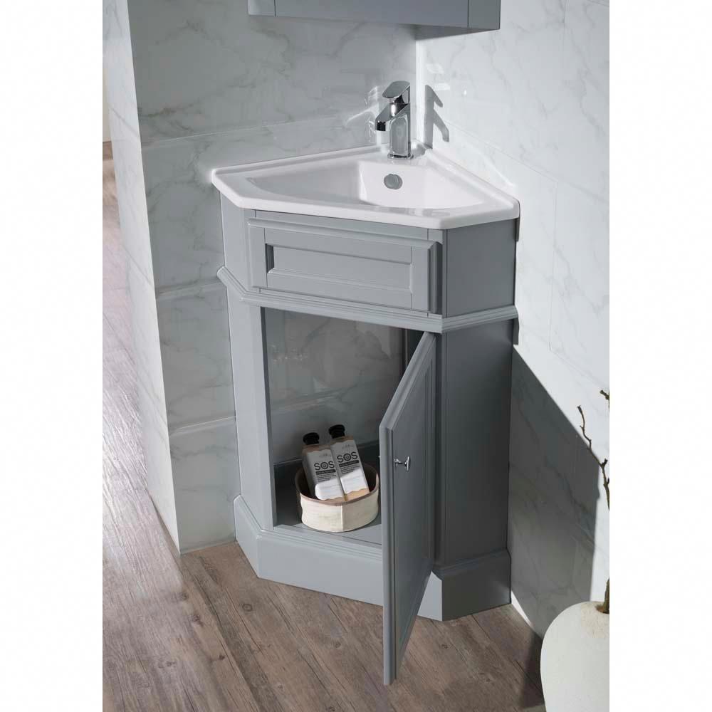 Stufurhome Hampton 27 In W X 18 In D Corner Vanity In Grey With Porcelain Vanity Top In White With White Corner Bathroom Vanity Corner Vanity Bathroom Vanity