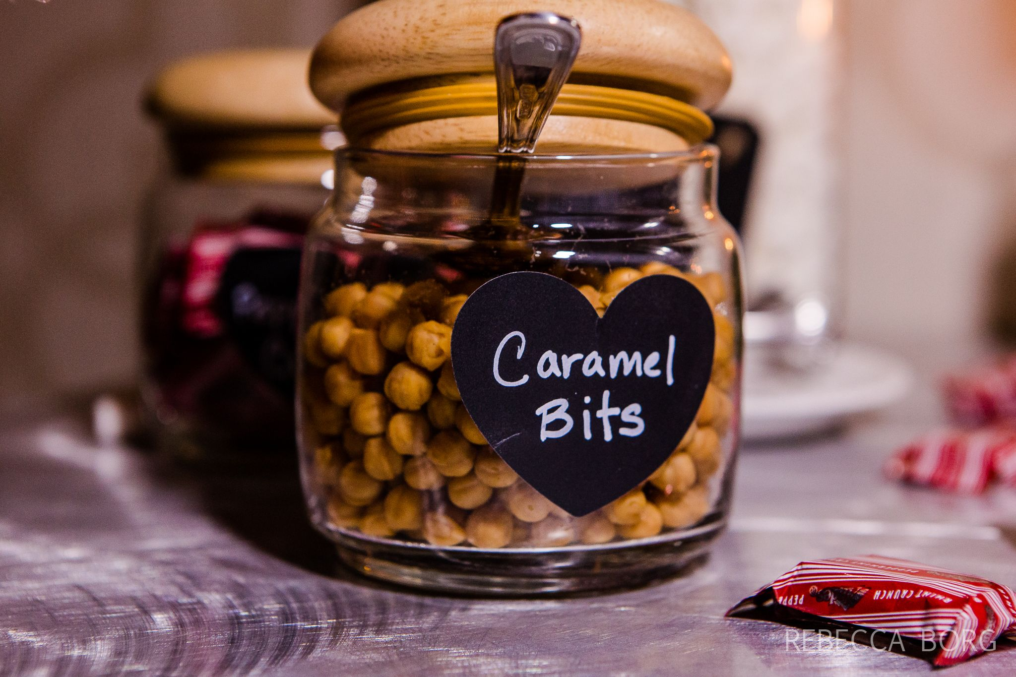 Caramel Bits For Hot Chocolate Bar At Wedding Reception After A