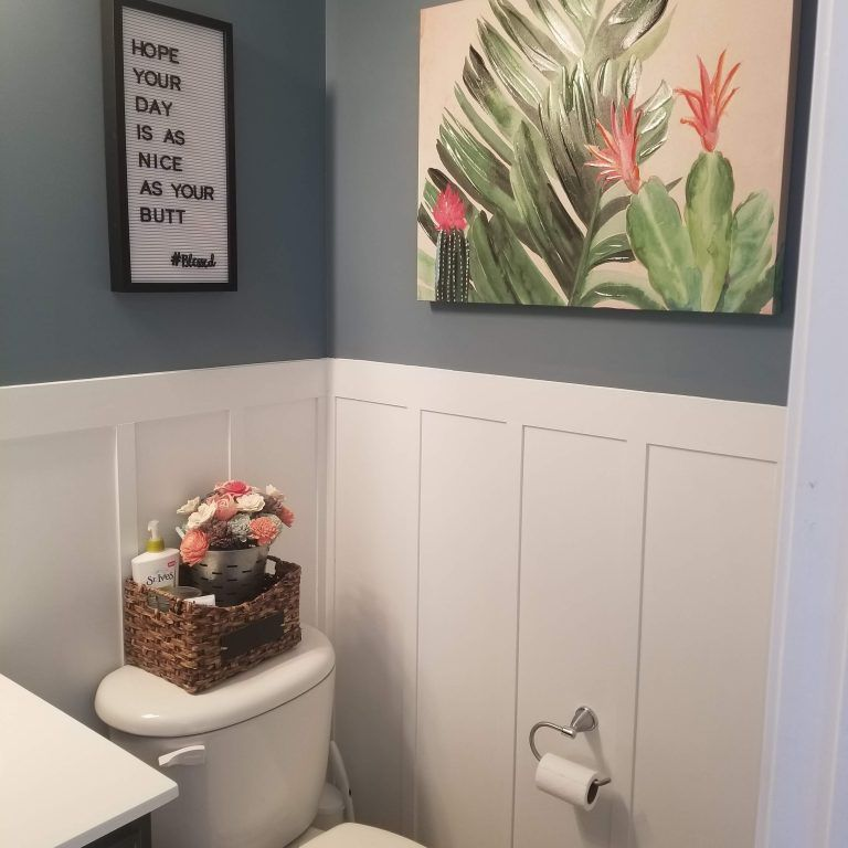 Photo of Budget Half Bathroom Update – DIY Wainscoting | Mama Needs a Project