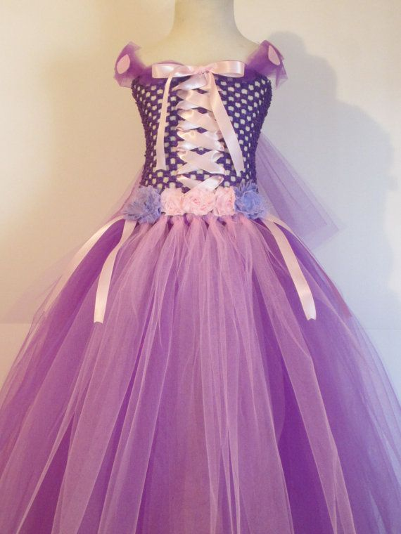 tutu dress rapunzel costume full length baby girls toddler halloween costume purple pink. Black Bedroom Furniture Sets. Home Design Ideas
