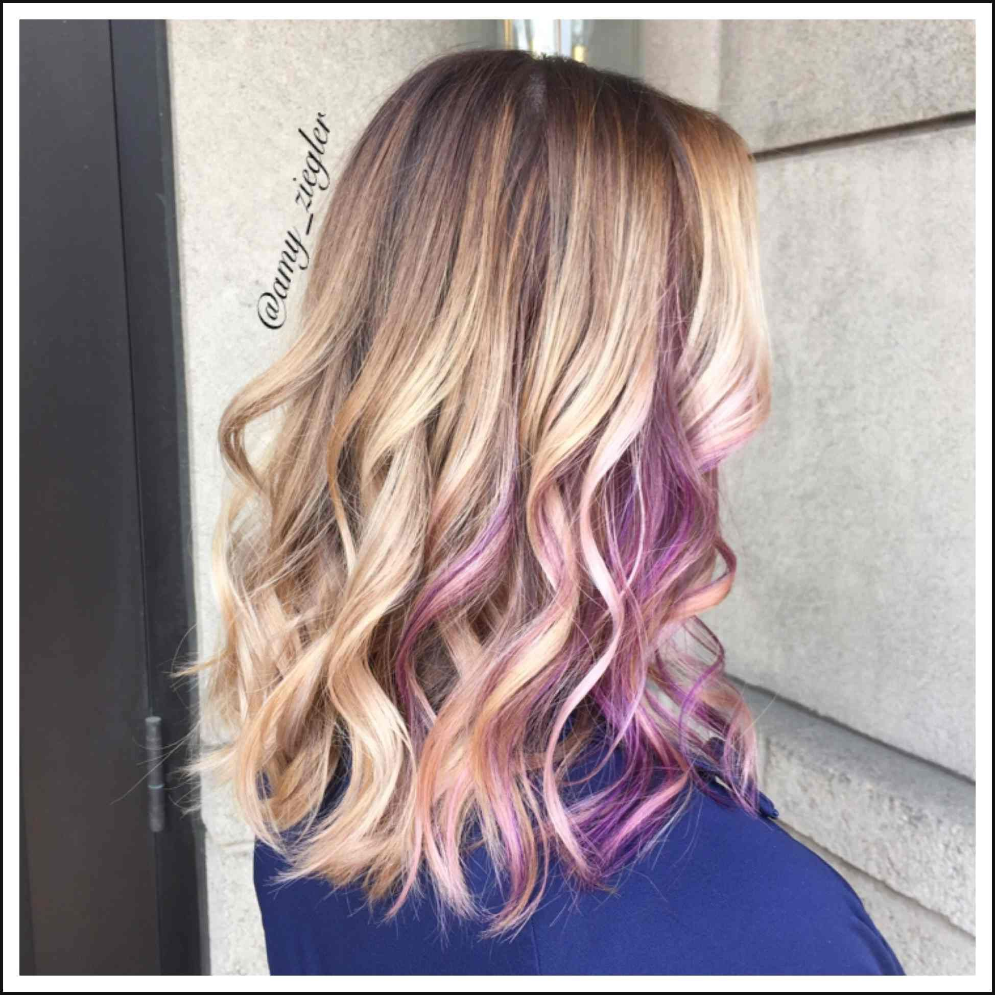 Blonde balayage and purple peekaboo by askforamy versatilestrands