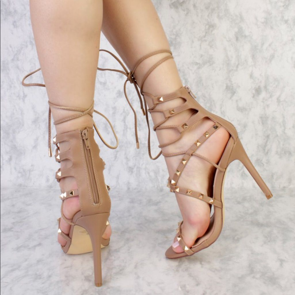 beb599d7a97 Strappy Sandal Heels New With Box Taupe   Color: Gold/Tan   Size ...