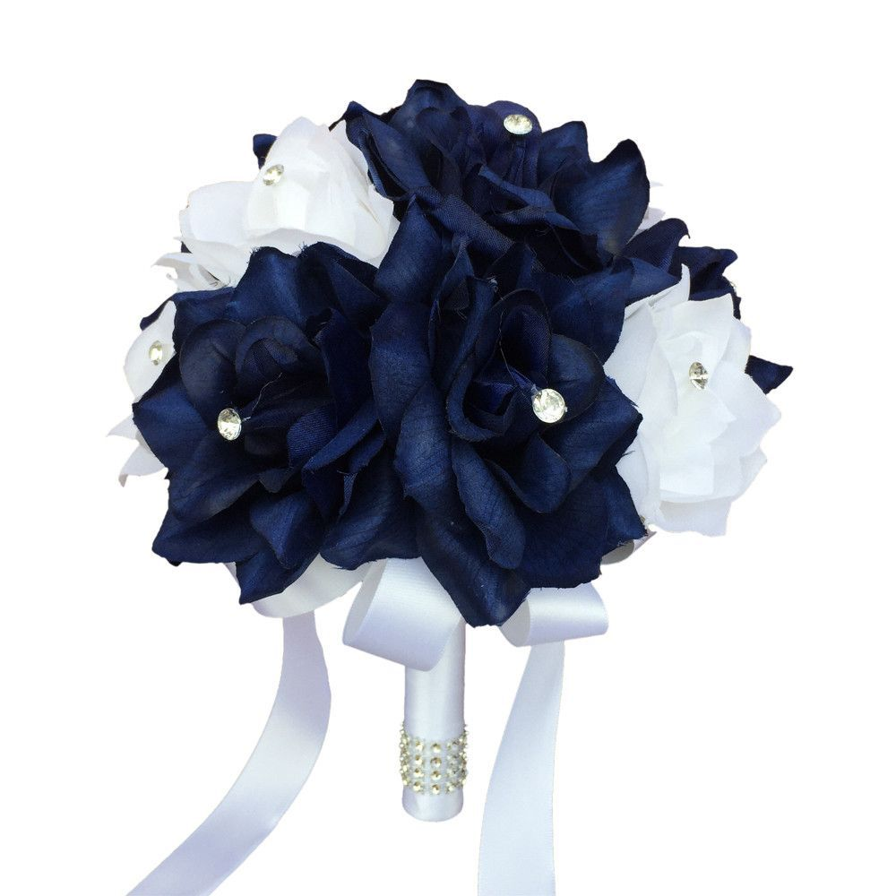 Diameter 8 Navy Blue And White Roses Each Rose Has Rhinestone