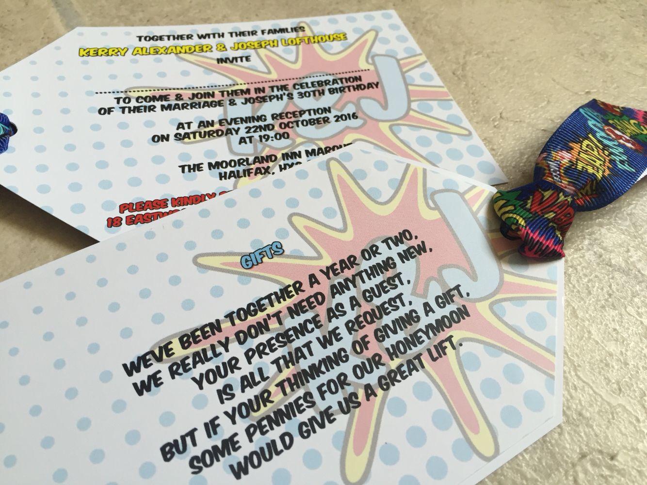 Pop Art | Comic Strip | Swing Tag Wedding Invitations | Pop Art ...