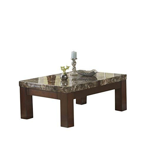 Ashley Furniture Signature Design Kraleene Coffee Table Tail Height Rectangular Dark Brown With Faux Marble Top