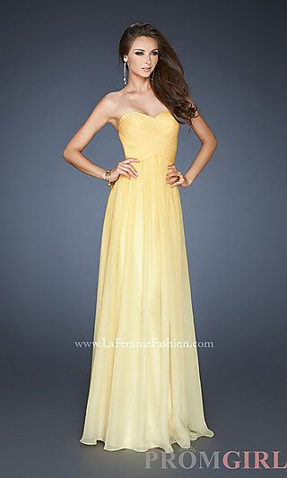 1a7ae9027e7 Long Strapless Ombre Gown by La Femme 18415 at PromGirl.com... Beauty and  the Beast-- Belle