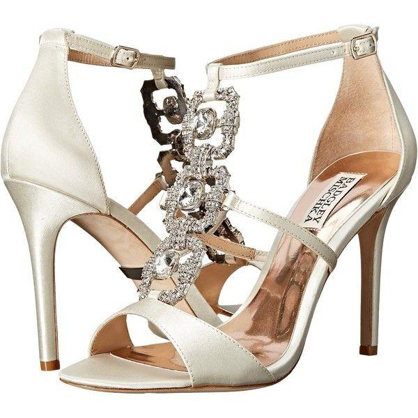 Womens Shoes Badgley Mischka Allie Ivory Satin/Silk Chiffon