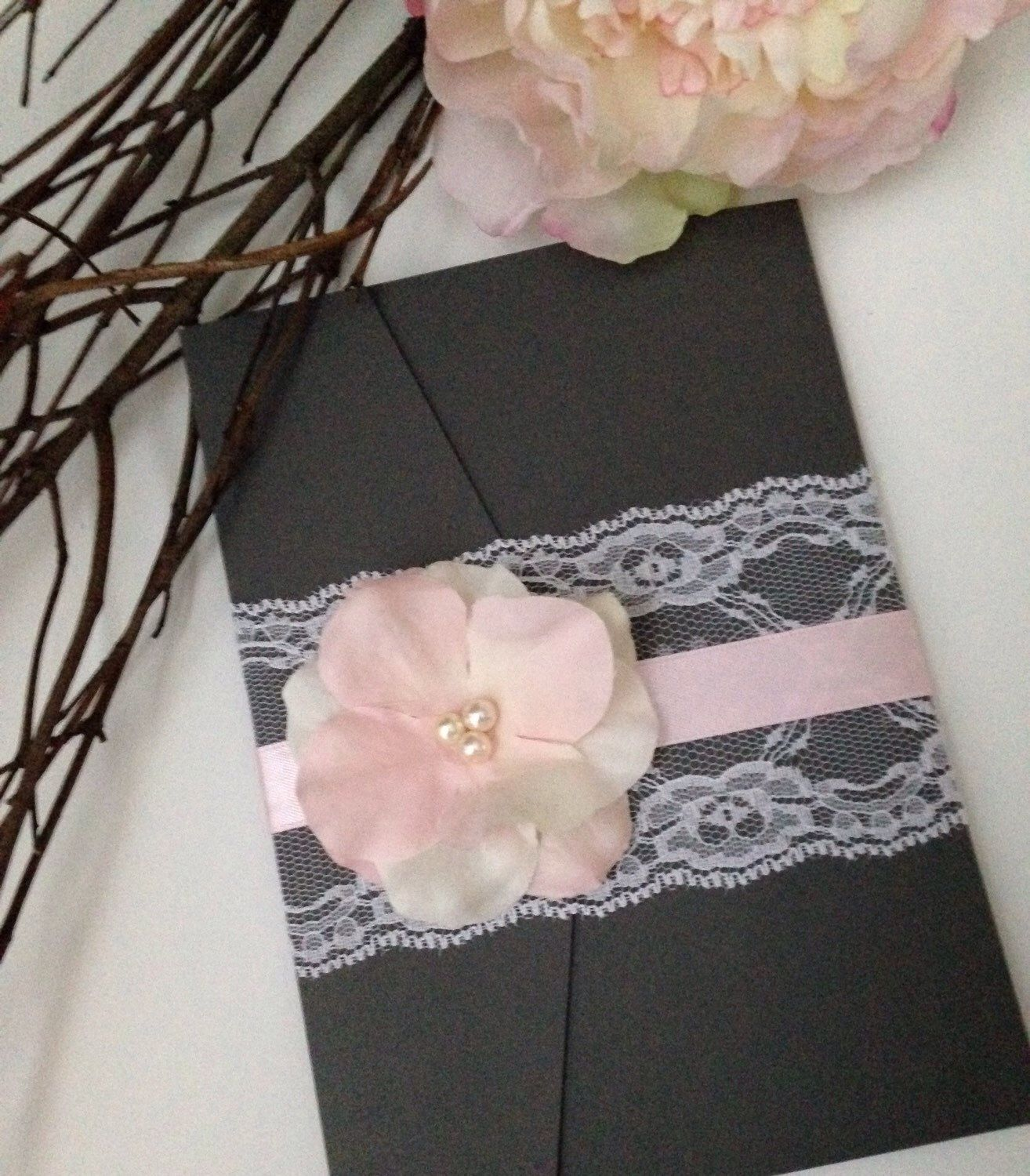 black and white wedding cards pinterest%0A Dark Gray  Blush Pink and White Ivory Wedding Invitation with Lace   handmade Flower