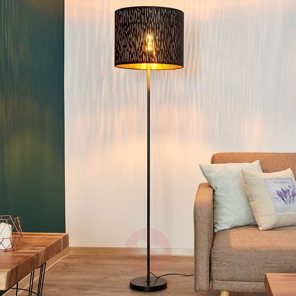 Lampa Stojąca Jules Z Aksamitem Czarno Złota Lampy