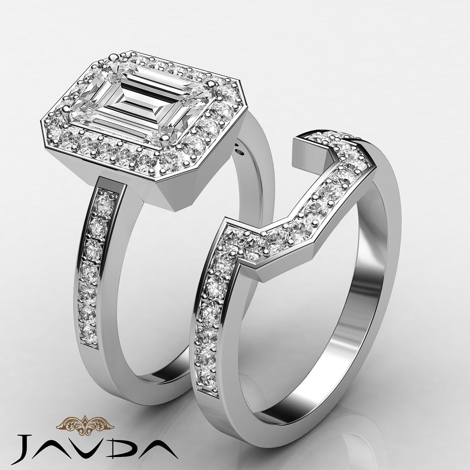 Emerald Diamond Engagement GIA F VS2 Bridal Set Halo Ring 14k White Gold 2 4 Ct | eBay